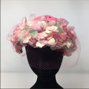 Vintage Half Hat Bandeau Covered Pink and White